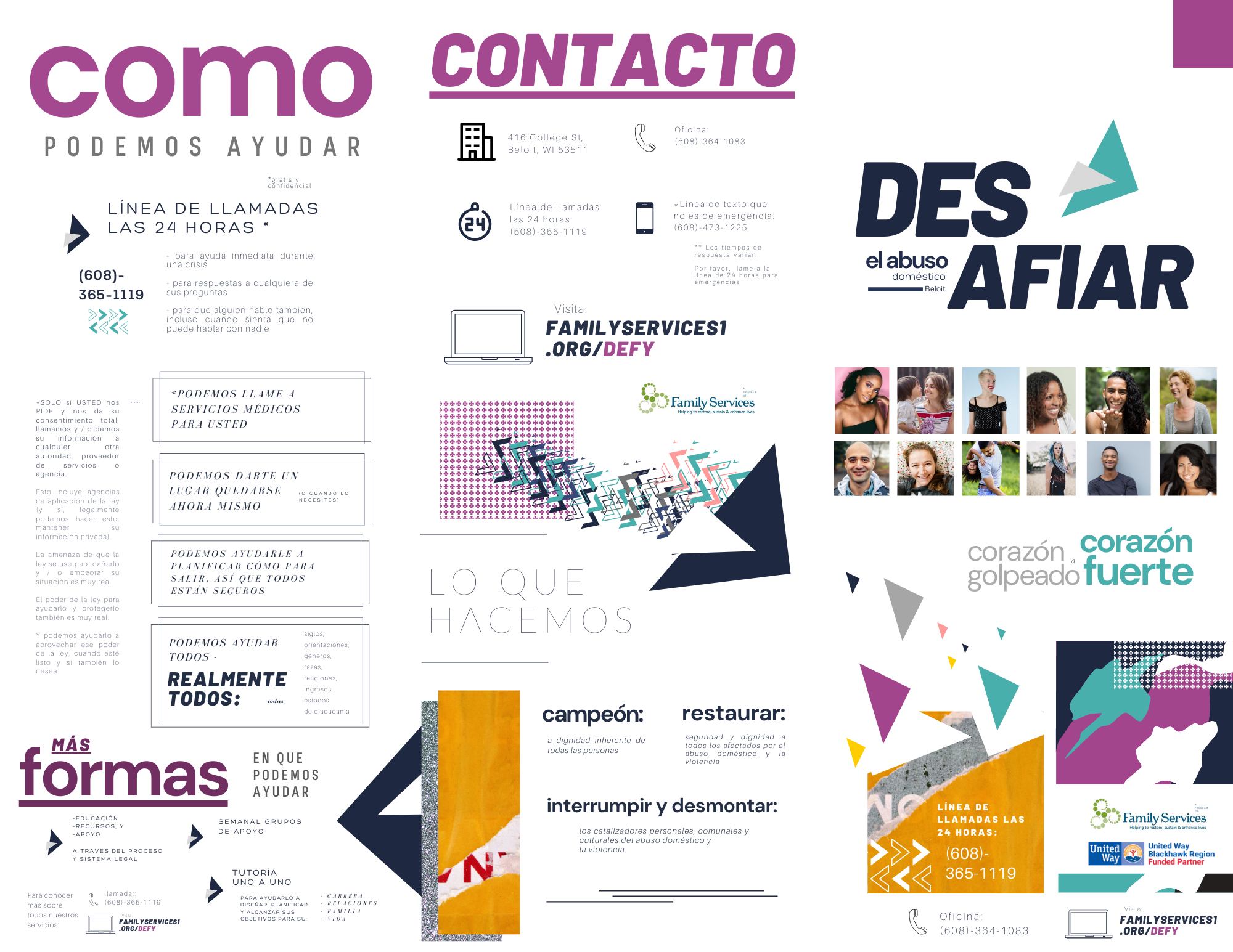 Spanish brochure created by Owl Street Studio for Defy Domestic Abuse Beloit
