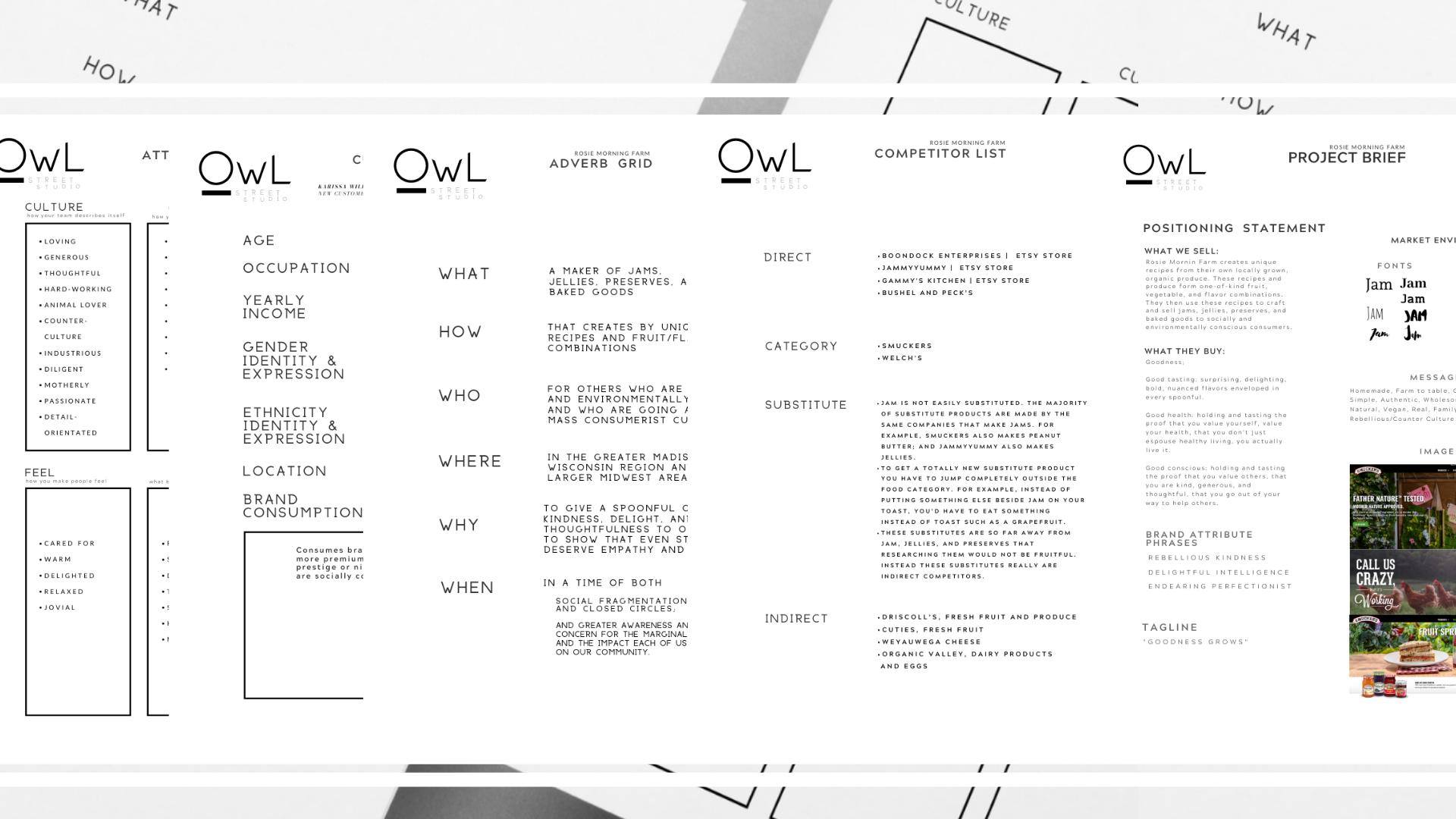 Example of branding kit created by Owl Street Studio for Rosie Morning Farm