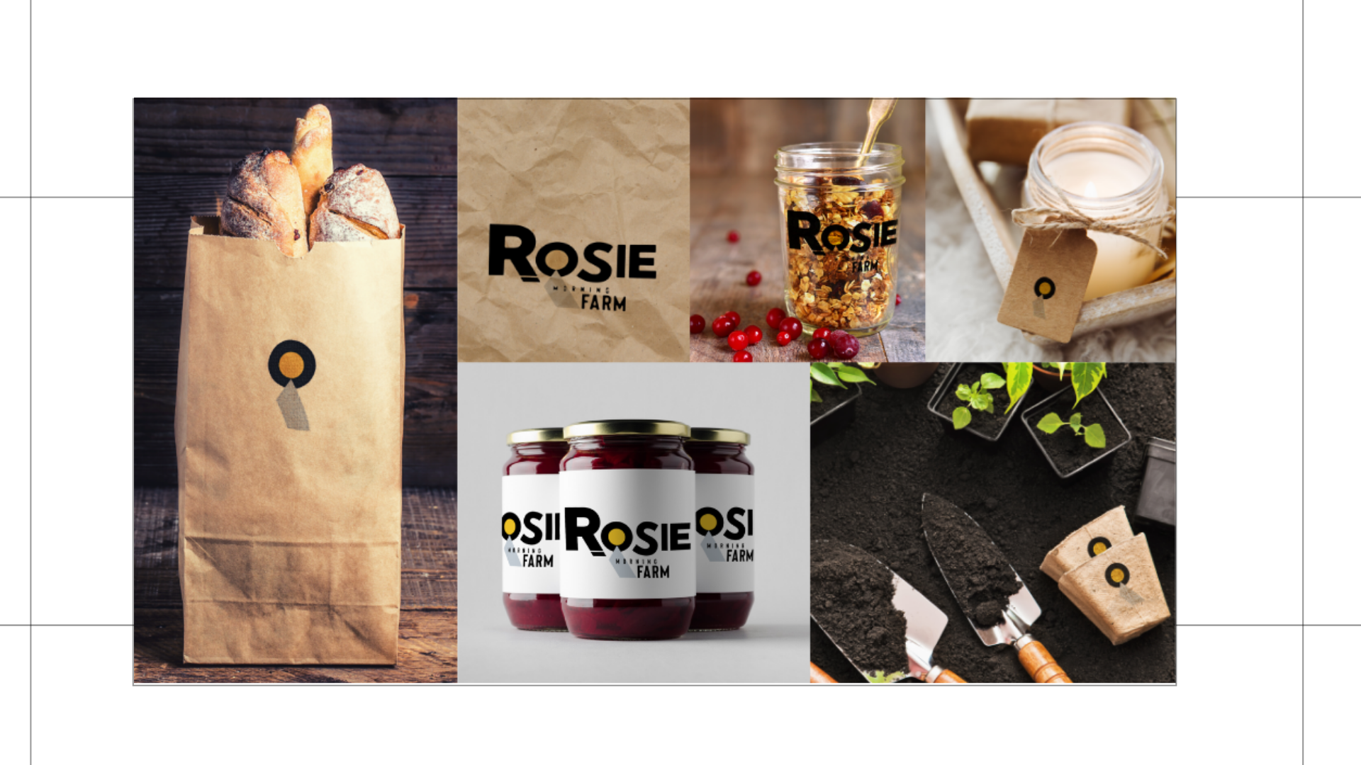 Logo mockups created by Owl Street Studio for Rosie Morning Farm