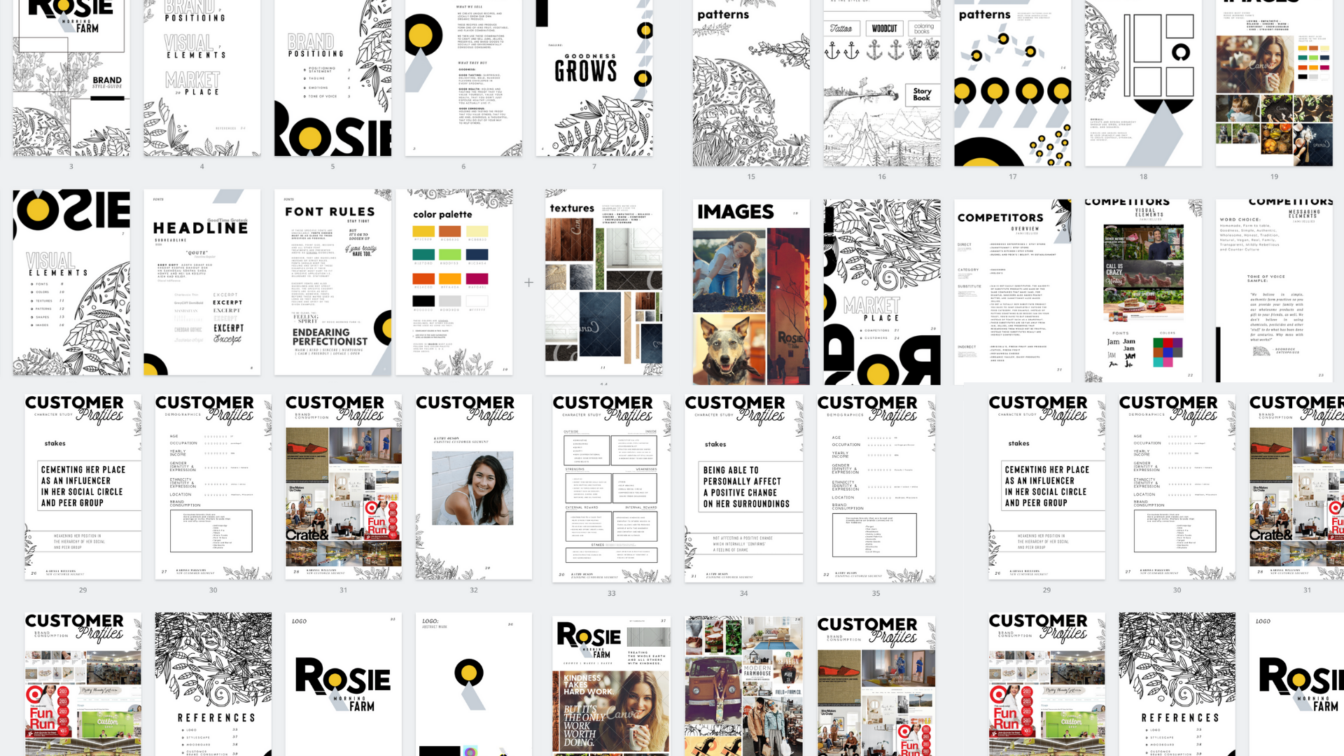 Example of brand styleguide created by Owl Street Studio for Rosie Morning Farm