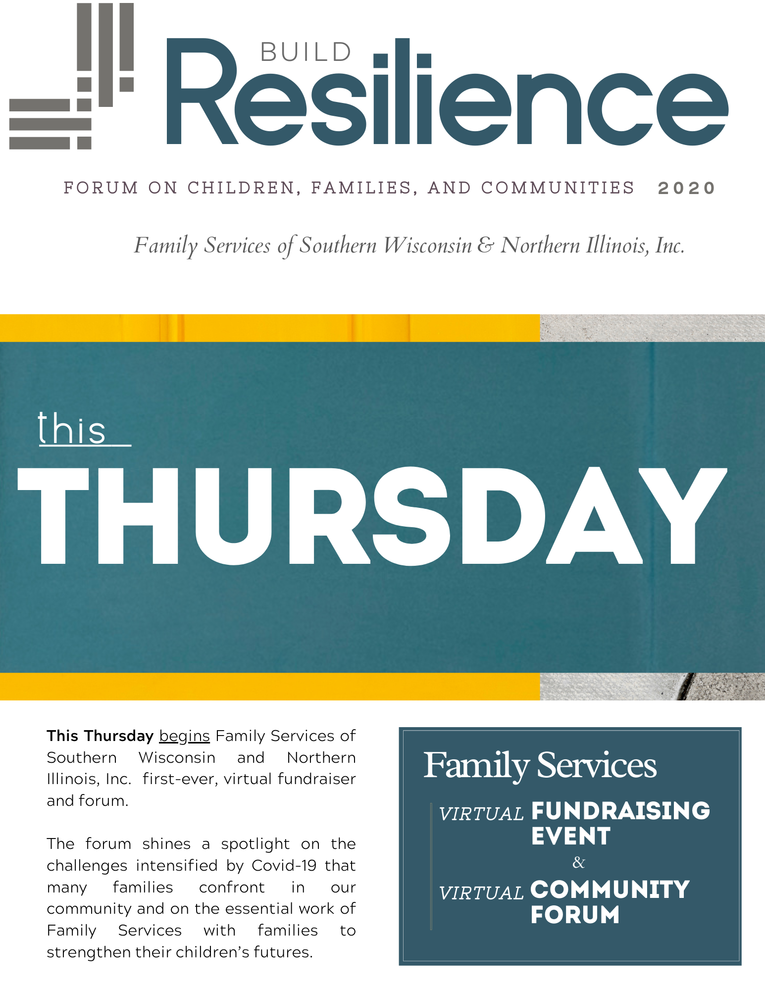 Example of email newsletters created by Owl Street Studio for Family Services of Beloit Wisconsin's fall fundraising event
