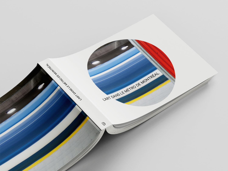 a close up of l'art dans le métro de Montréal book cover design.