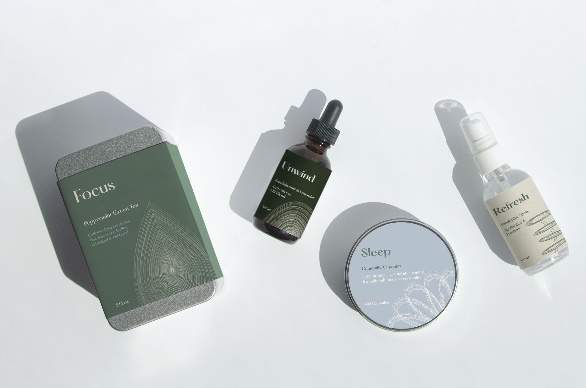 four fictional divine essence products on a white background