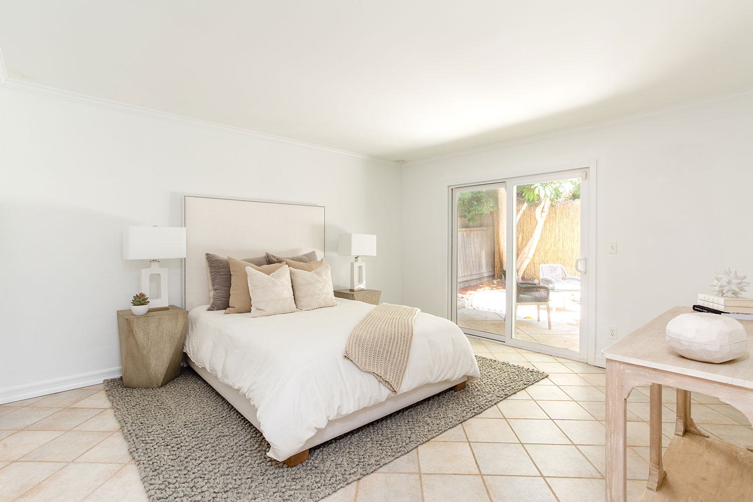 Bedroom with white and grey in Redondo beach