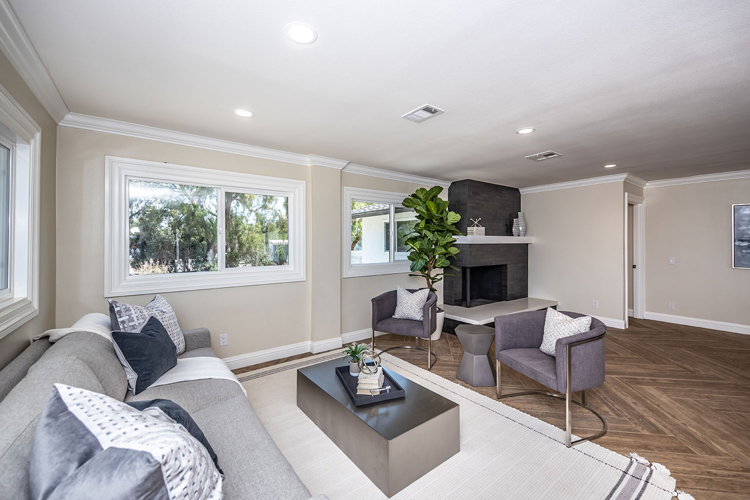 living room with neutrals in Norco