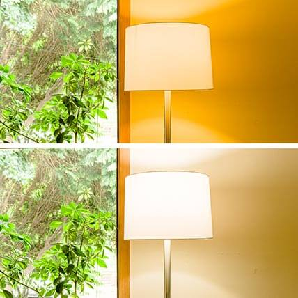 Before and after showing reduction in yellow color cast on wall after replacement of 2700k bulb with 5000k bulb