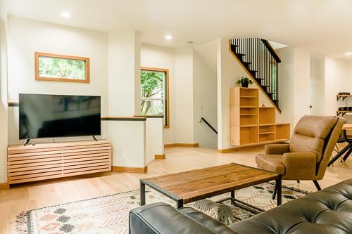 Entertainment center and living room