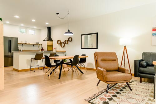 View of living room, dining room, and kitchen in NW Portland