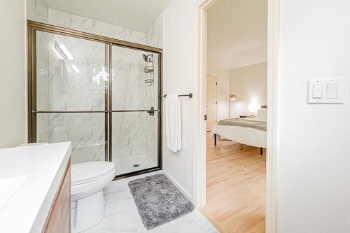 Master bathroom showing standing shower