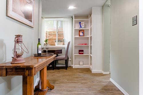 Entryway to basement room in Airbnb