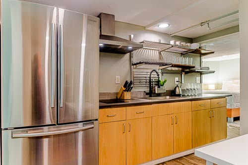 Kitchen area in basement unit in Airbnb