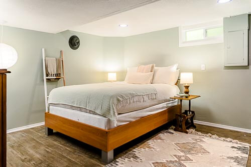 Bedroom in basement area of Airbnb