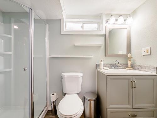 Basement bathroom in Airbnb home