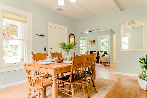 Dining room with dining table in Sellwood Airbnb home