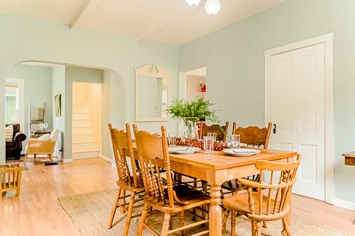 Dining table in dining room of Sellwood home