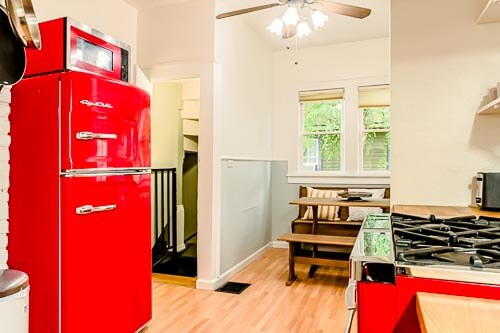Kitchen with red appliances