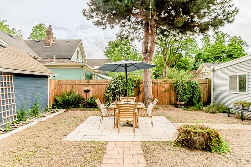 Backyard with shade cover and dining table