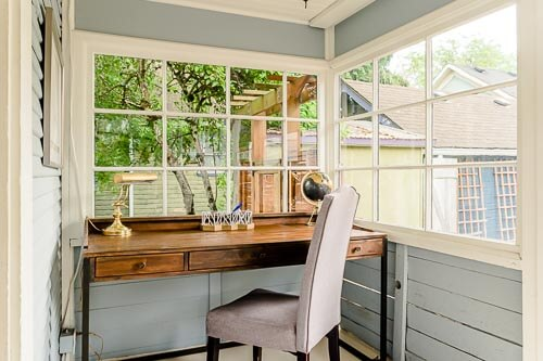 Study office nook in back of Sellwood home