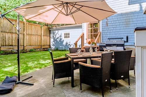 Backyard patio area with shade cover and dining table