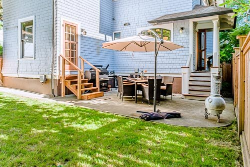 Backyard patio with shade and grass yard