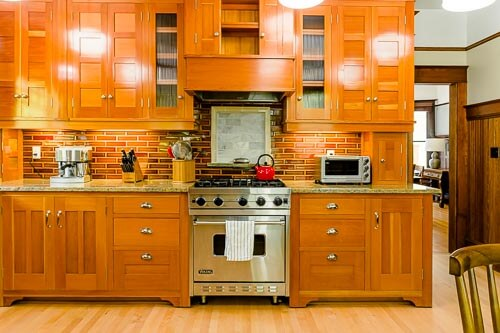 Kitchen with view of gas range and entryway to dining room