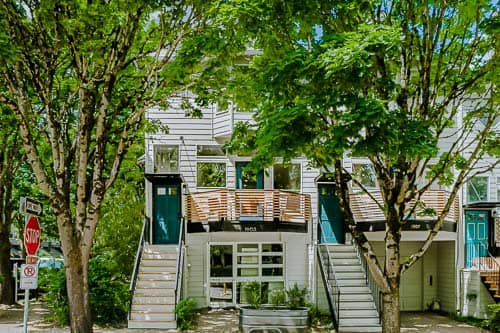 Front of NW Portland short-term rental home showing stairs