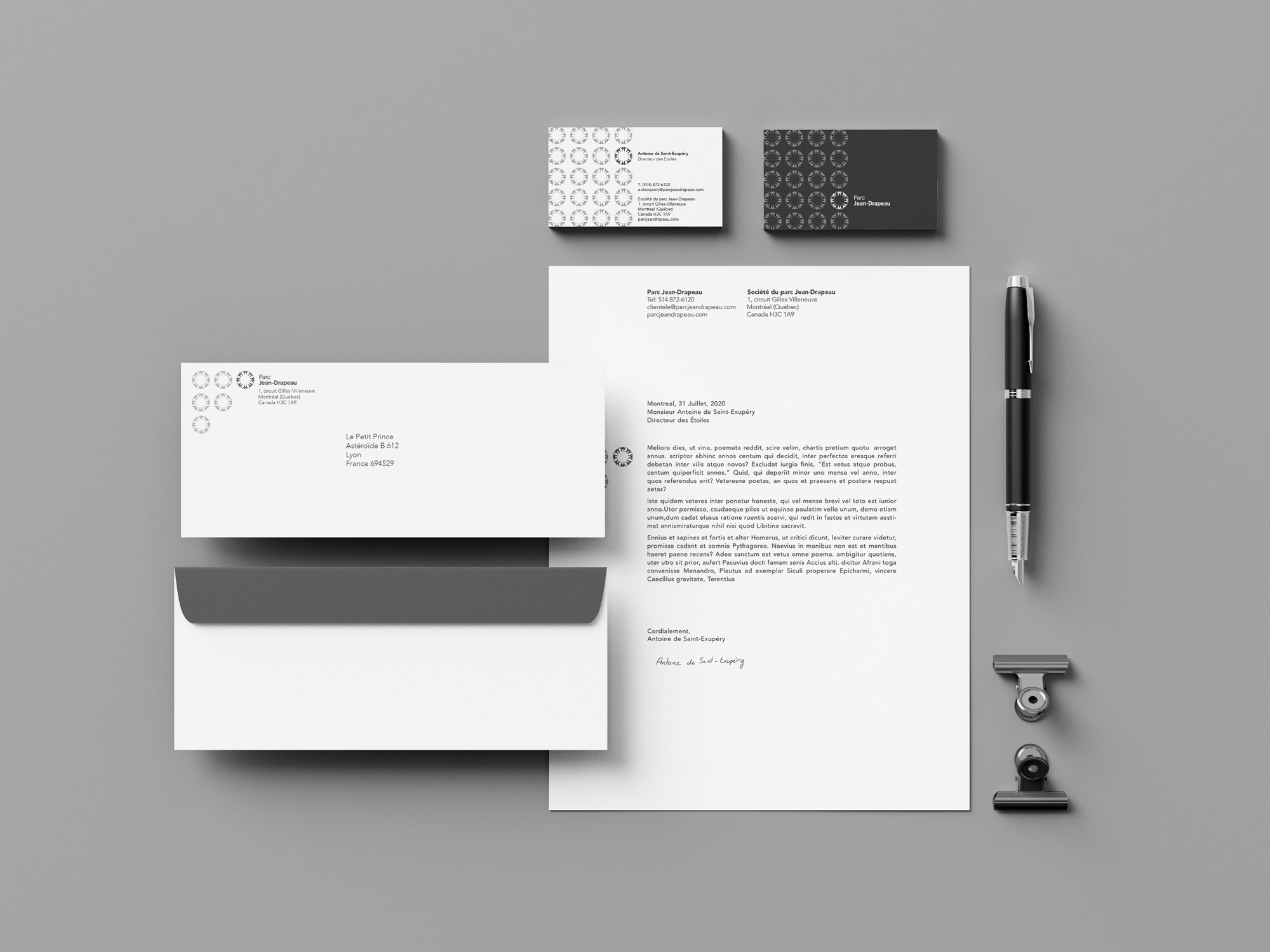 mockup of the Jean-Drapeau stationery in black and white