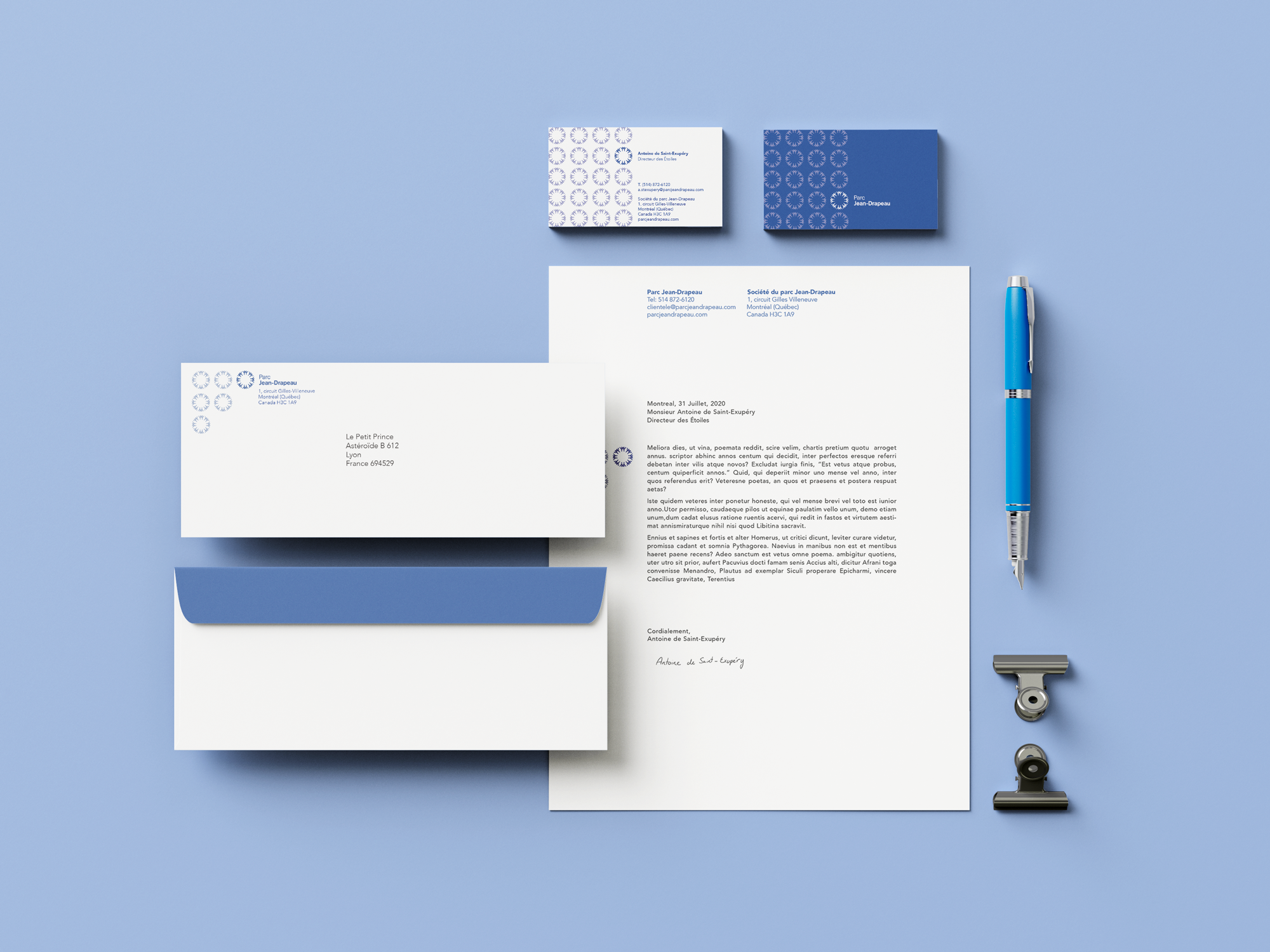 mockup of the Jean-Drapeau stationery in colour