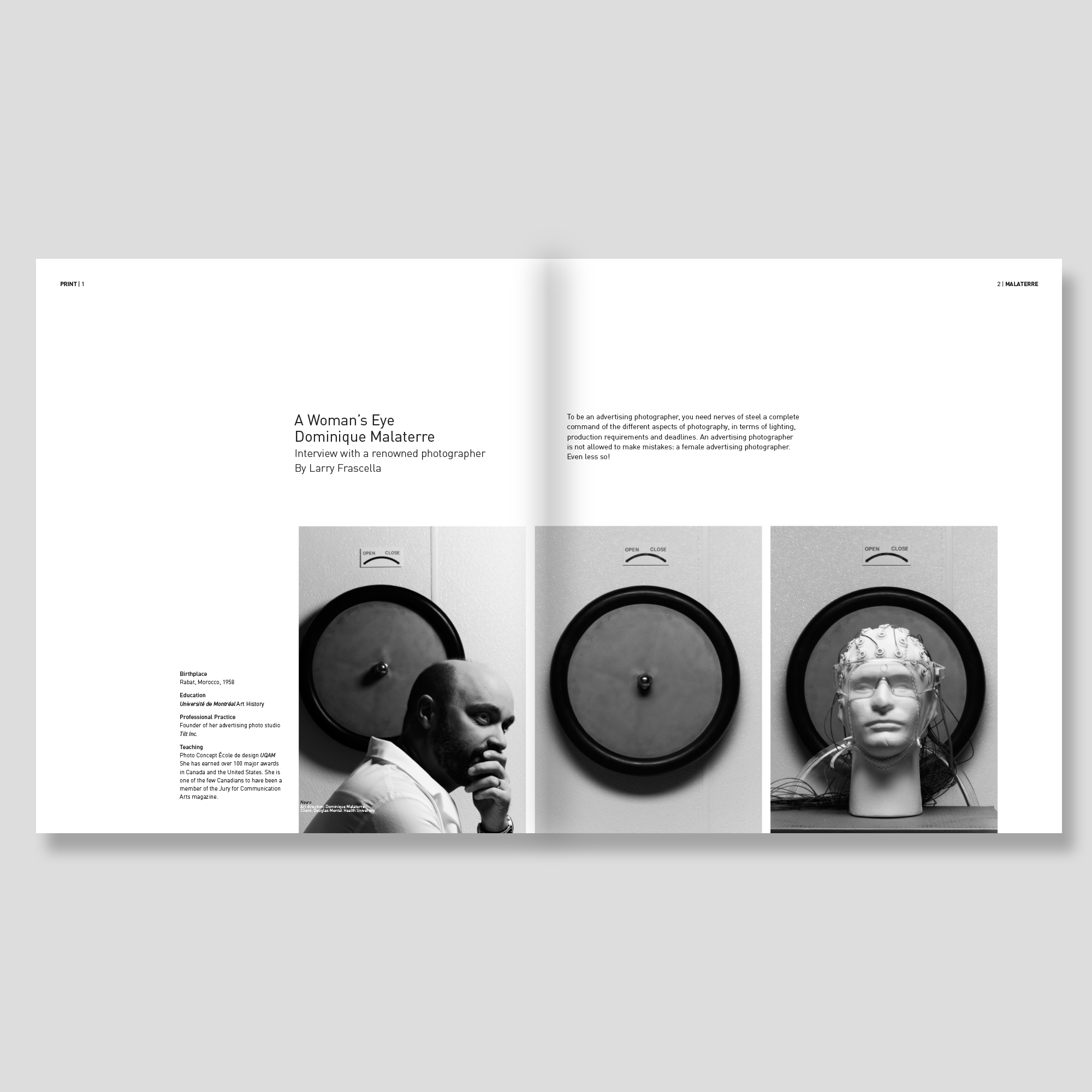 spread of the print magazine in black and white