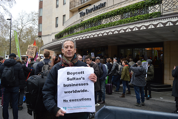 Peter Tatchell at a protest