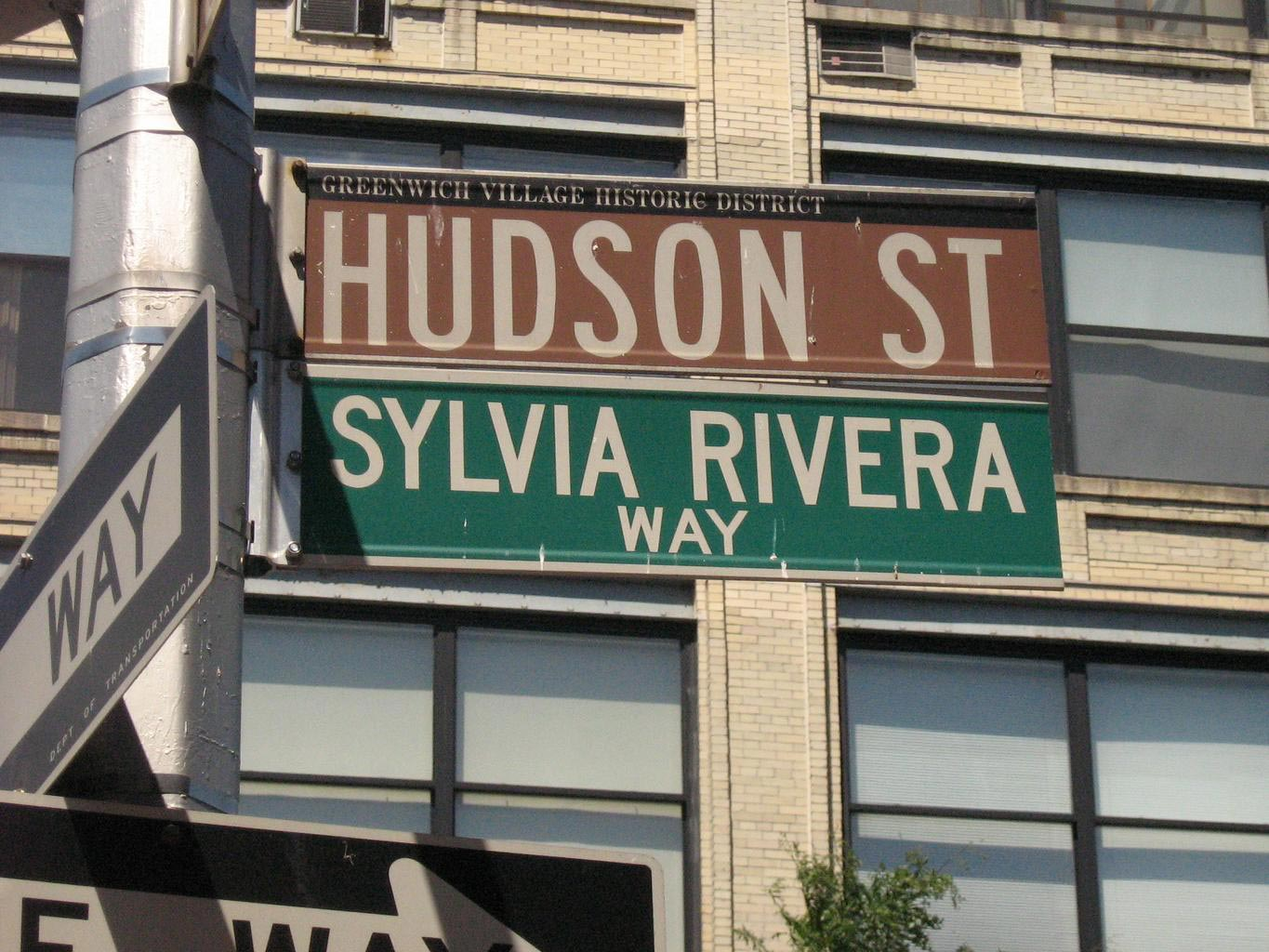 The intersection of Hudson Street and Sylvia Rivera Way
