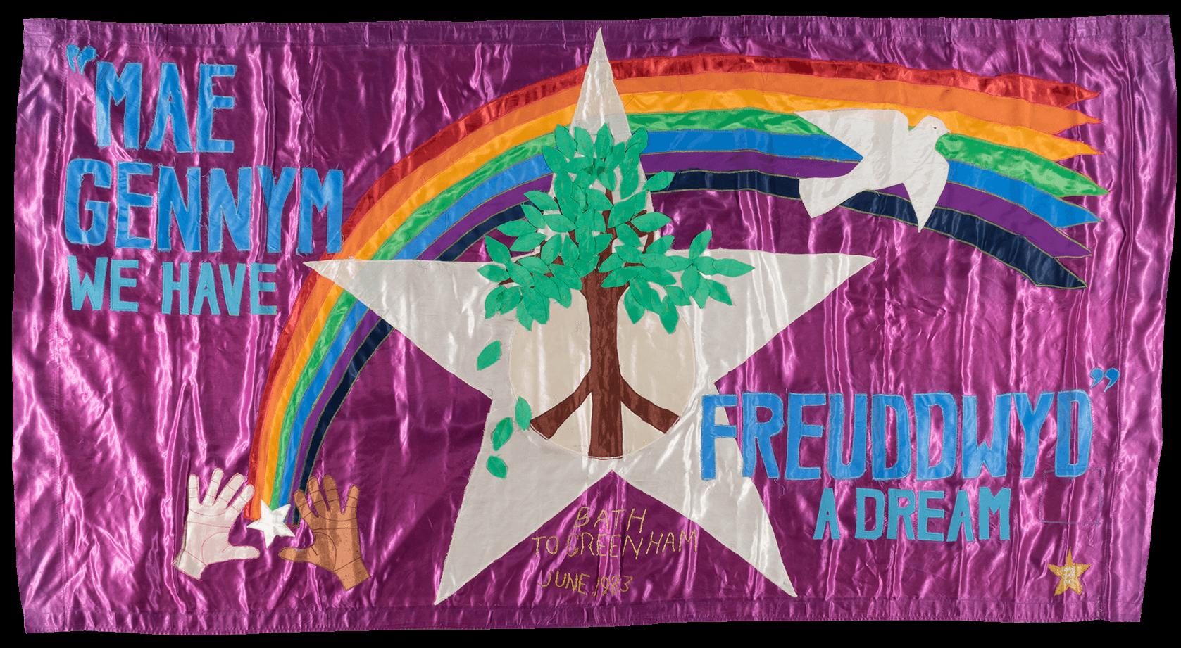 An LGBTQ+ anti-war banner