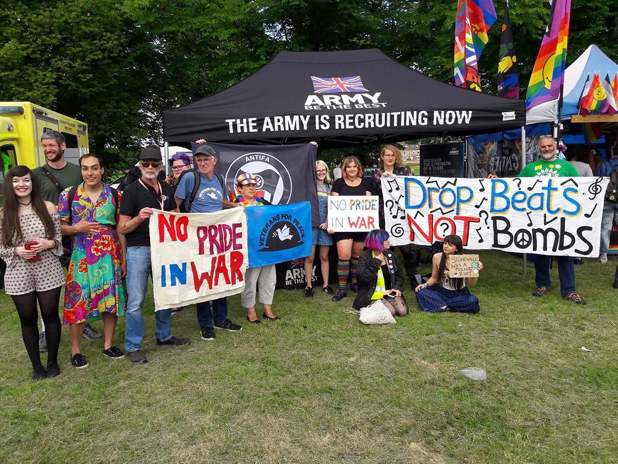 An LGBTQ+ anti-war protest