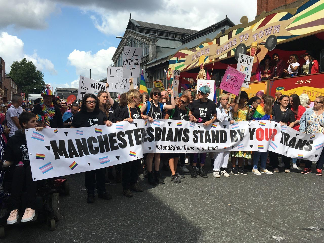 Pro-trans march in Manchester, UK