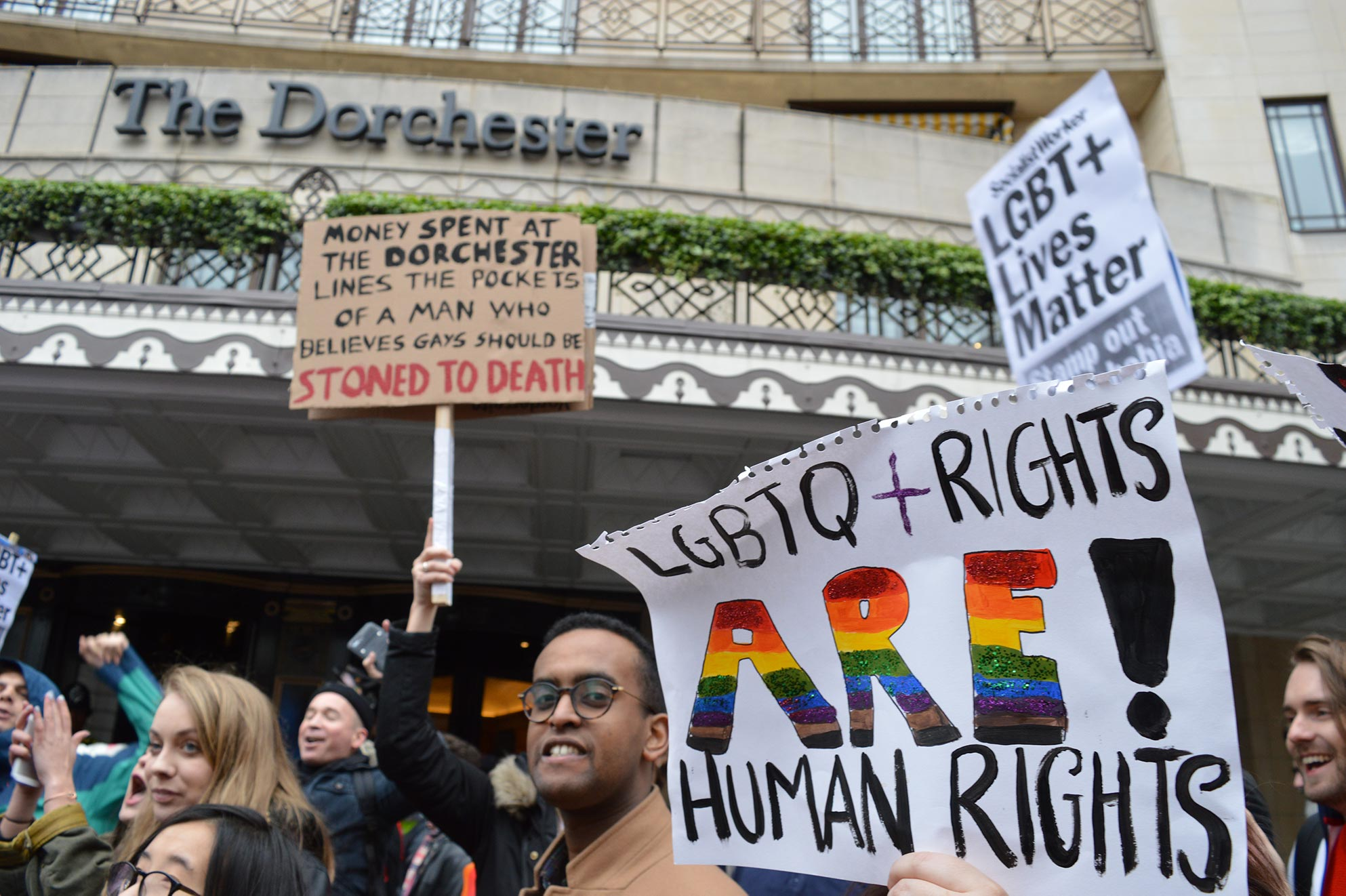 A protest outside of The Dorchester hotel in London
