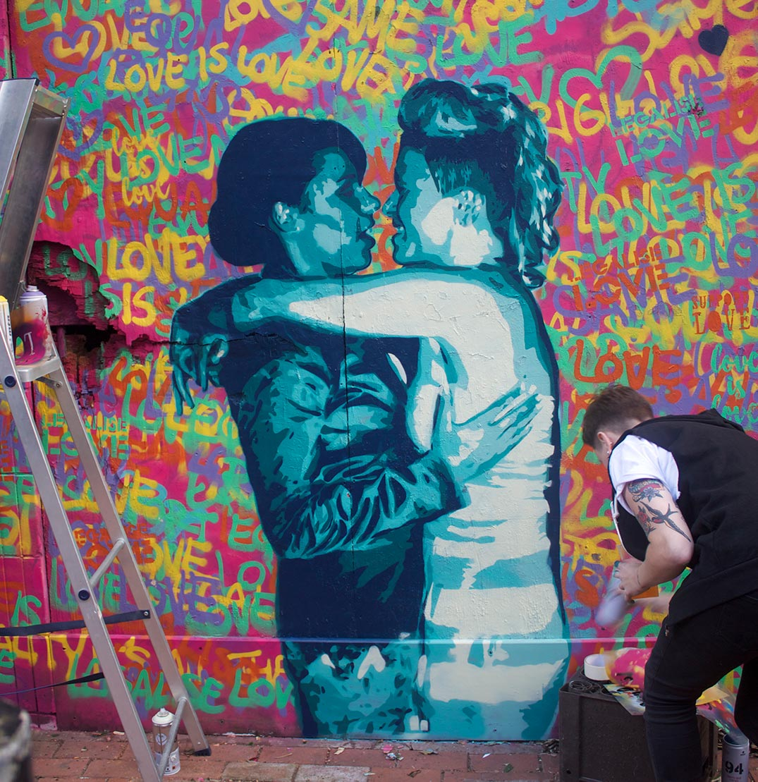 Mural of the first same-sex marriage in Northern Ireland, painted by Emma Blake