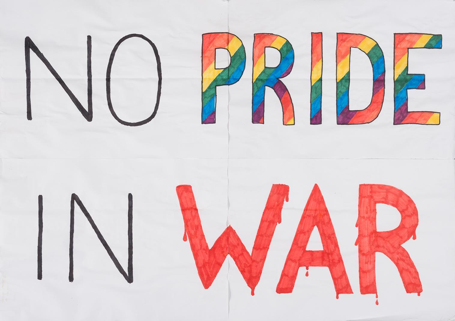 No Pride in War placard