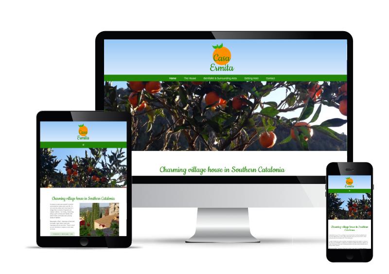 Casa Ermita's website shown in Desktop, Tablet and Mobile views.