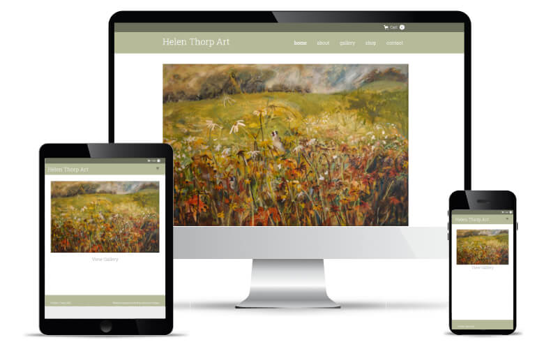 Helen Thorp's website shown in Desktop, Tablet and Mobile views.