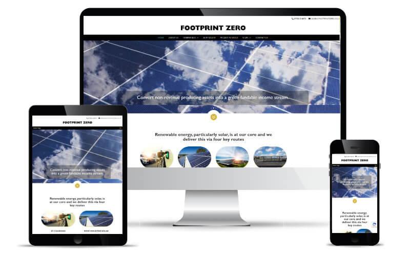 Footprint Zero's website shown in Desktop, Tablet and Mobile views.