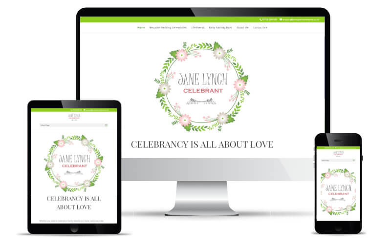 Jane Lynch's website shown in Desktop, Tablet and Mobile views.