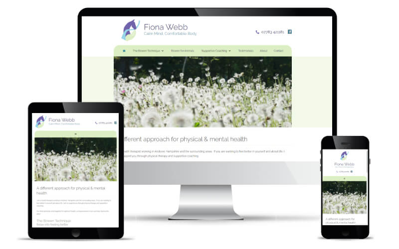 Fiona Webb's website shown in Desktop, Tablet and Mobile views.