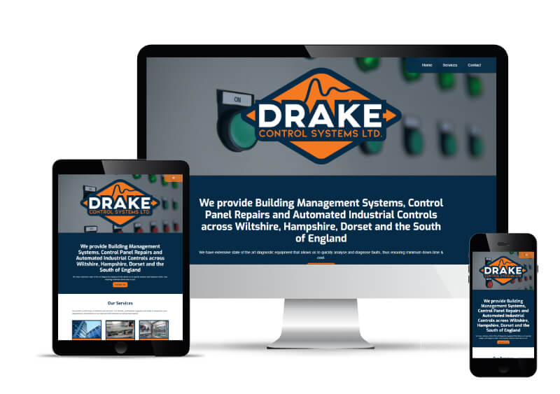 Drake Control's website shown in Desktop, Tablet and Mobile views.
