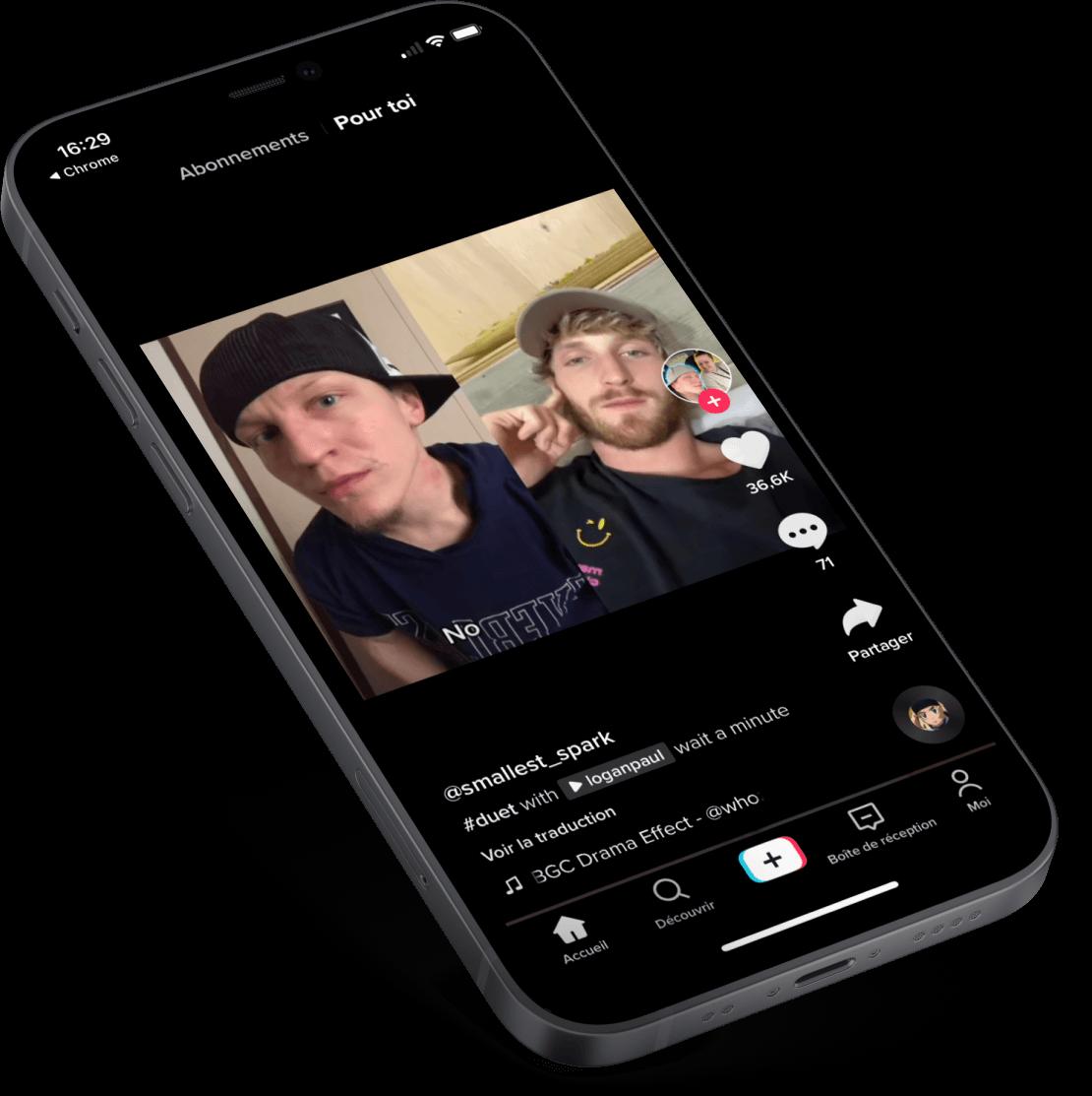 iPhone présentant le concept de Duo Time