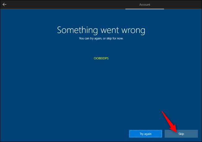 Skipping Microsoft account creation during Windows 10 Setup.