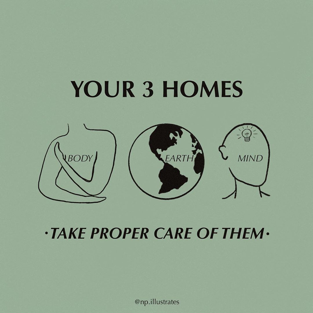 """A green square with text on the top that reads """"Your 3 Homes"""". There are three illustrations underneath - a torso representing the body, the earth and a head with a lightbulb that represents the mind. It reads """"Take proper care of them"""" underneath the images. The author is @np.illustrates"""