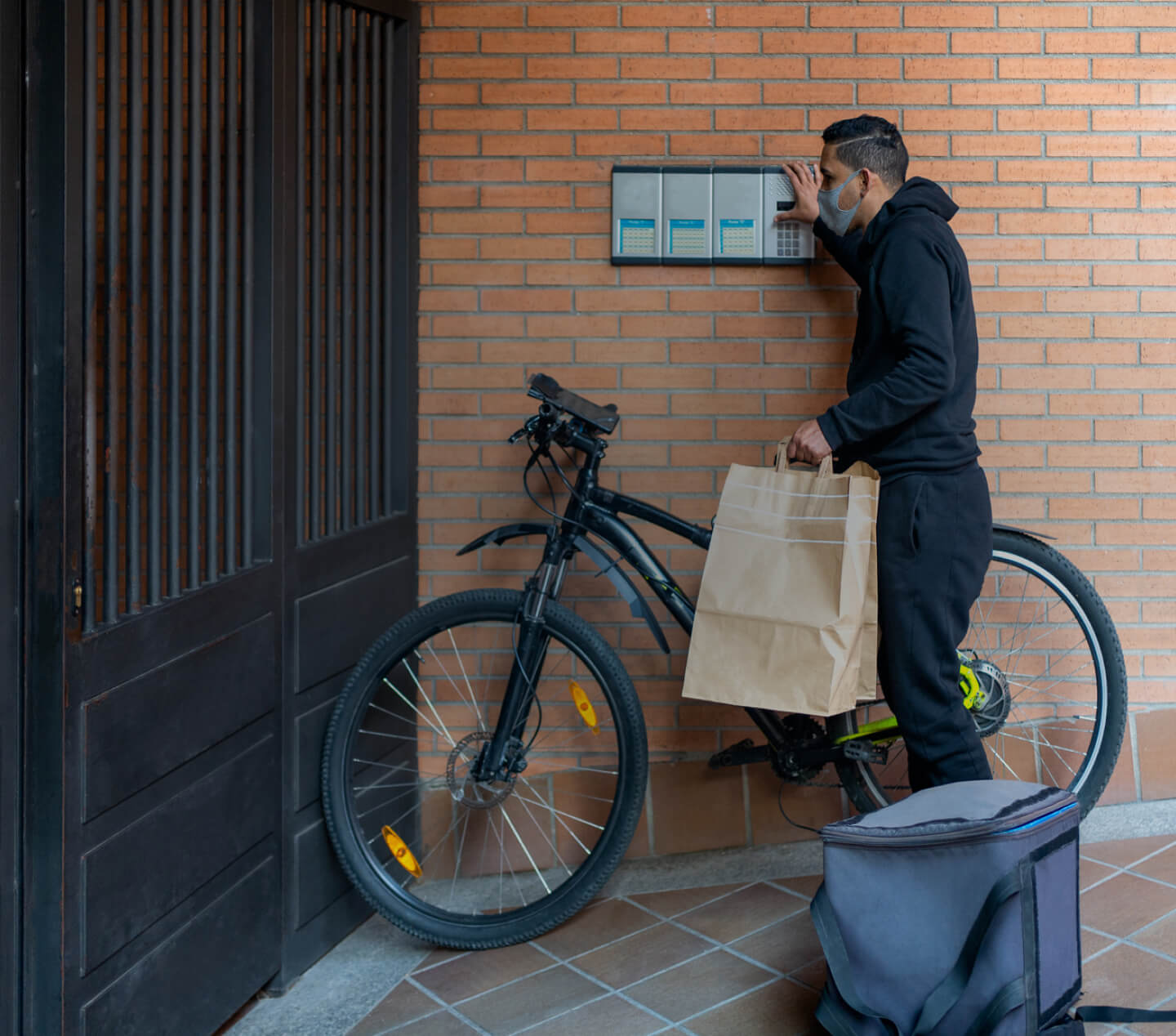 Person delivering an order