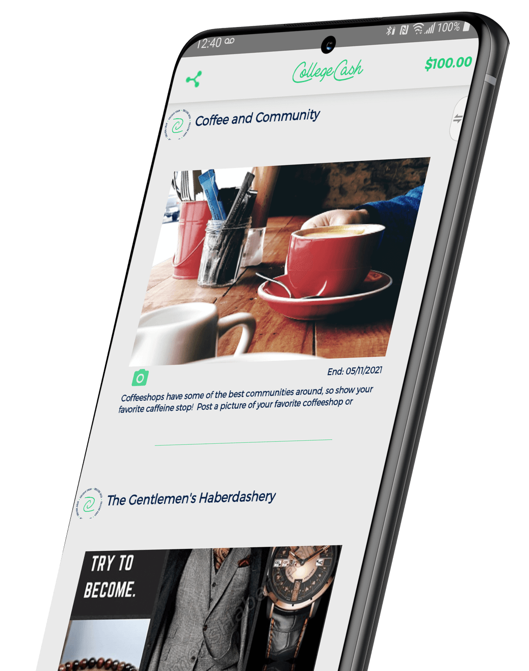 College Cash App Screenshot on a Samsung device.
