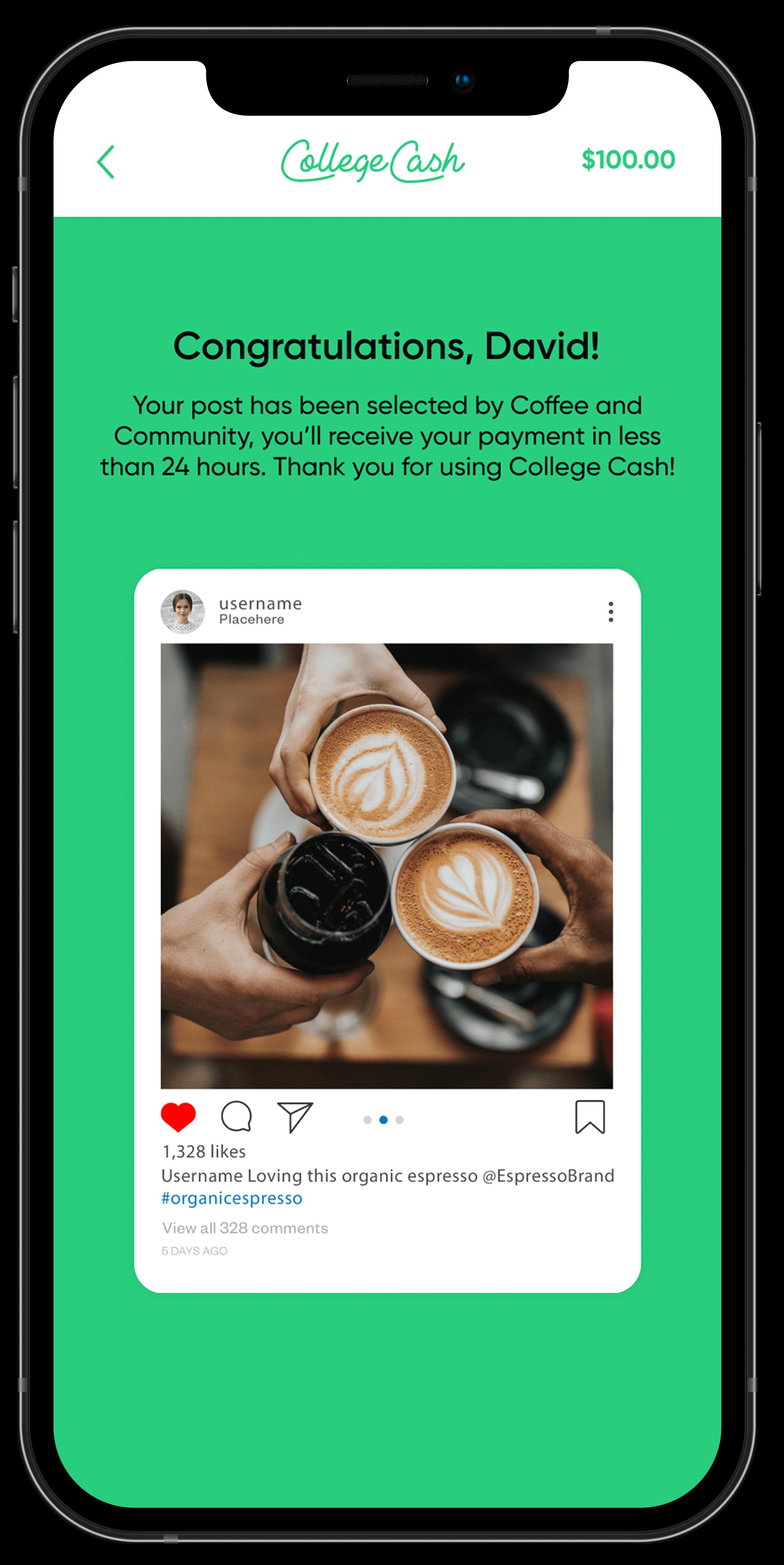 Mockup of congratulations screen in College Cash app