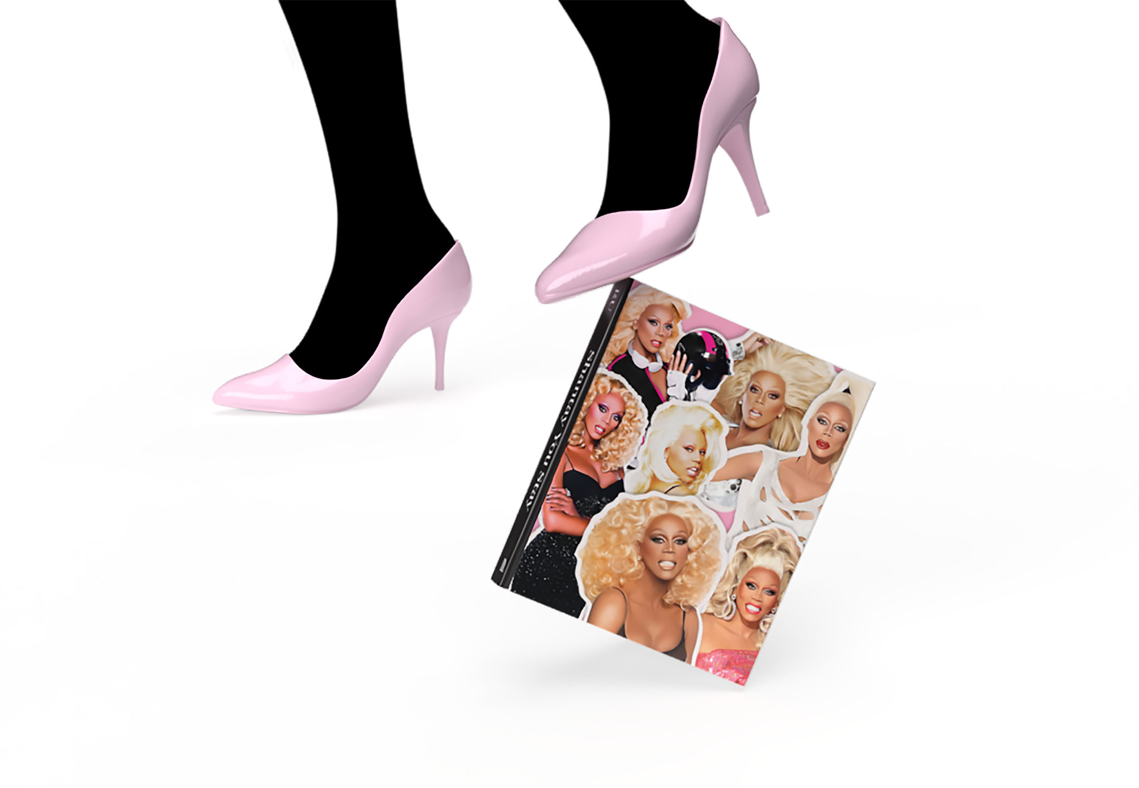 A person with pair of high heels stepping on a book